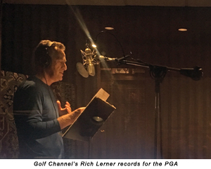 Golf Channel's Rich Lerner records for the PGA