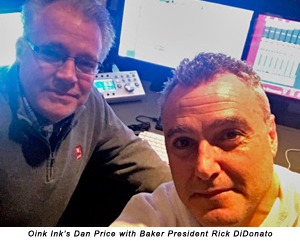 Oink Ink's Dan Price with Baker President Rick DiDonato